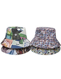 Fashion D Cartoon Bear Print Fisherman Hat