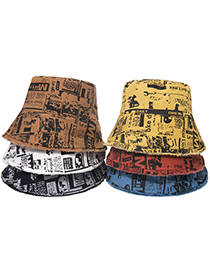Fashion Brown Tie-dye Graffiti Newspaper Letters Fisherman Hat