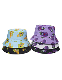 Fashion G Corn Eggplant Chili Print Fisherman Hat