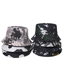 Fashion E Cow Graffiti Print Fisherman Hat