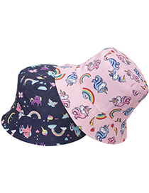 Fashion Navy Unicorn Print Fisherman Hat