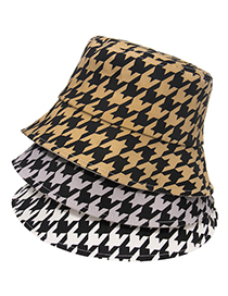 Fashion Gray Houndstooth Black And White Fisherman Hat