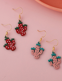 Fashion A Red Colorful Cactus Earrings