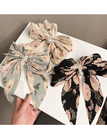 Fashion Floral Black Background Big Bow Floral Hairpin