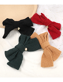 Fashion Brown Cotton Fabric Woven Bow Hairpin