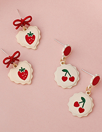 Fashion B Strawberry Heart Strawberry Bow Fruit Stud Earrings