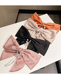 Fashion Caramel Colour Pearl Hairpin With Big Bow