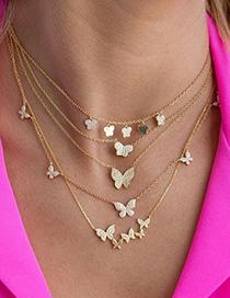 Collar De Mariposa De Circonitas En Oro Real