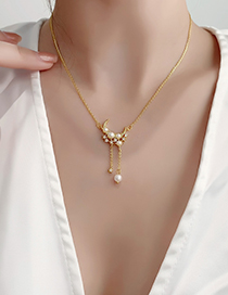 Fashion Gold Color Stars And Moon Tassel Necklace