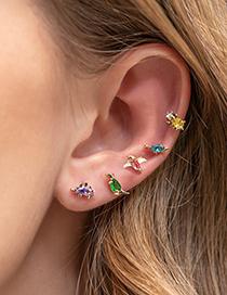 Fashion Green Eyelet Dragon Little Dinosaur K Gold Animal Earrings