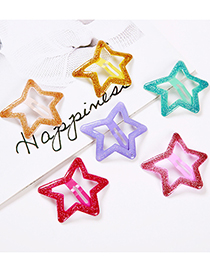 Fashion Lavender Sequined Five-pointed Star Children's Hairpin