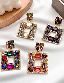 Fashion Color Alloy Diamond Hollow Square Stud Earrings