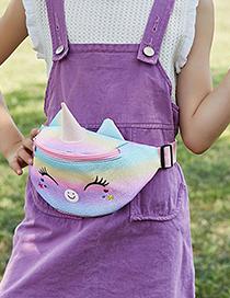 Fashion Smiley Pink Rainbow Glitter Children's Cartoon Unicorn Belt Bag