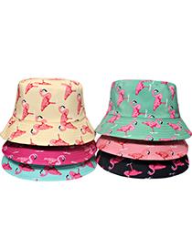 Fashion Mint Green Flamingo Print Double-sided Sun Hat
