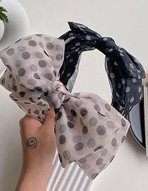 Fashion Black Polka Dot Mesh Double-layer Bow-knot Wide-brim Headband