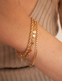 Fashion Steel Color 16cm Stainless Steel Gold-plated Twist Chain Bracelet