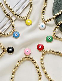 Fashion Green Copper Dripping Eyes Beaded Bracelet