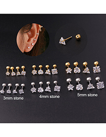 Fashion 1#-gold Five-pointed Star Twisting Ball Piercing Earrings