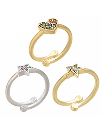 Fashion Gold Color Heart Micro Inlaid Love Open Ring