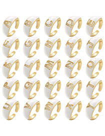 Fashion A White Drop Oil Micro Inlaid Letter Open Ring