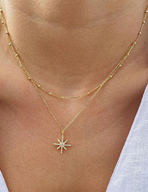 Collar De Múltiples Capas De Cristal Chapado En Oro