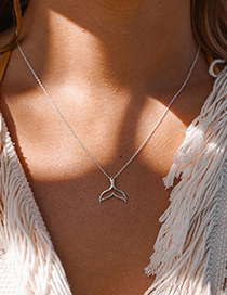 Fashion Silver Color Dolphin Tail Single Layer Necklace