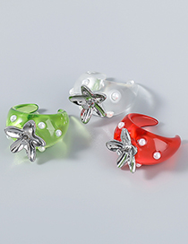 Fashion White Alloy Resin Pearl Flower Rings