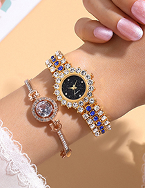 Fashion Silver Colorwith Black Face Alloy Full Diamond Bracelet Watch
