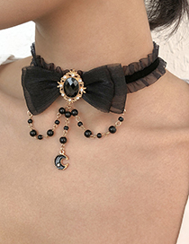 Collar Con Lazo De Arena Tachonado De Diamantes Y Borlas De Perlas