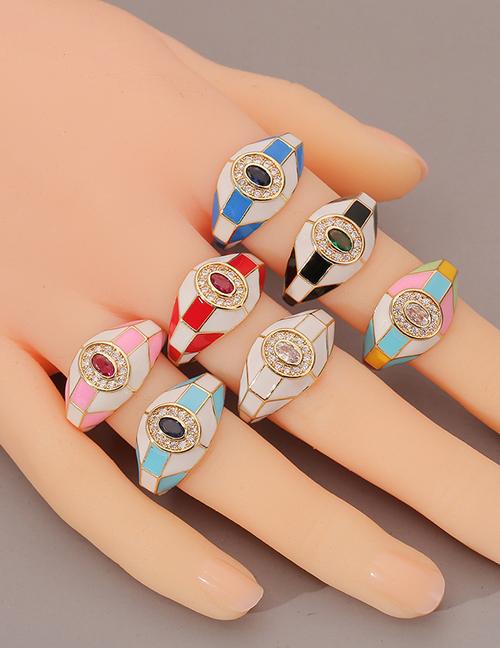 Anillo De Aceite Con Gota De Diamantes Geométricos