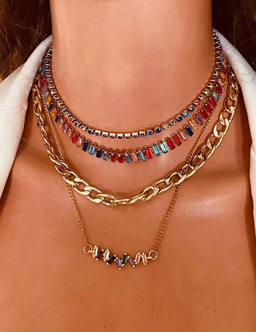 Fashion Golden Alloy Chain Irregular Claw Chain Multilayer Necklace