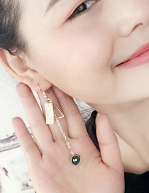 Fashion Green Pearl Decorated Geometry Shape Color Mathicng Simple Earrings