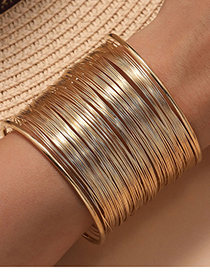 Fashion Gold Color Line Hollow Opening Alloy Bracelet