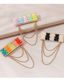 Fashion The First Color Resin Bear Chain Alloy Brooch