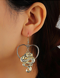 Fashion Golden Dragon Shaped Love Hollow Alloy Earrings