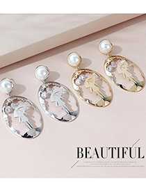 Fashion Platinum Real Gold Plated Portrait Pearl Geometric Earrings