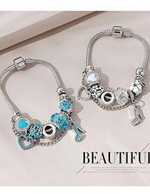 Fashion Sea Blue Small High Heels Diamond-studded Oil Dripping Alloy Bracelet