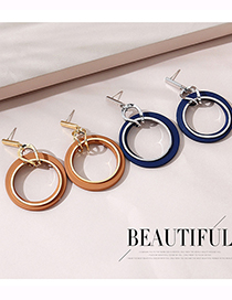 Fashion Dark Blue Real Gold Plated Large Circle Hollow Earrings