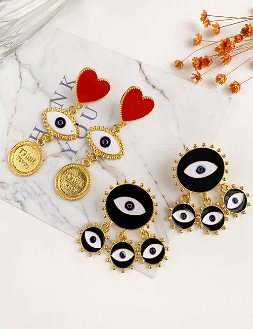 Fashion Black Alloy Dropper Round Tassel Eye Stud Earrings