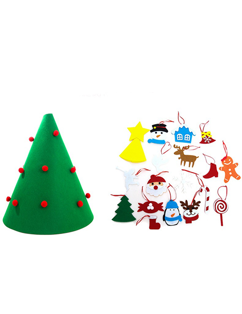 Fashion Green Felt Cloth Christmas Tree Puzzle Gift