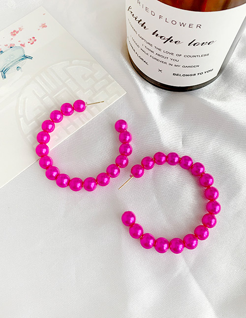 Fashion Red Wine Alloy Pearl Circle Earrings