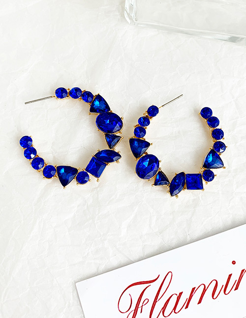Fashion Champagne Alloy Diamond-studded Round Earrings