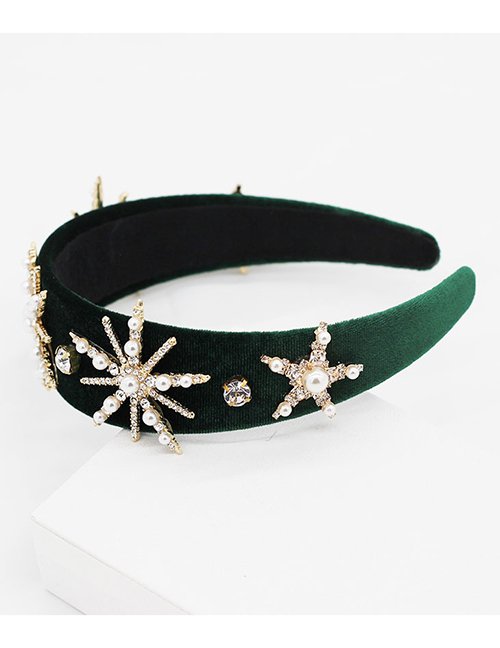 Fashion Green Sun Flower Pearl Rhinestone Star Snowflake Headband