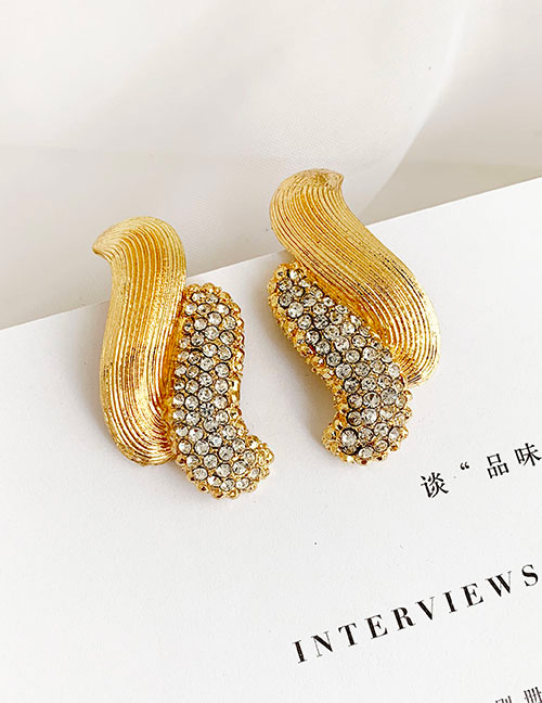 Fashion Golden Alloy Stud Earrings With Diamonds