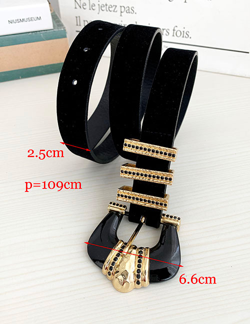 Fashion Black Pu Velvet Alloy Diamond Crown Belt
