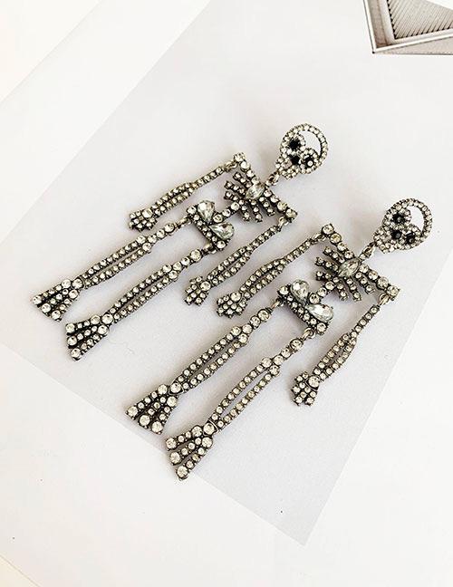 Fashion Champagne Alloy Skeleton Human Stud Earrings