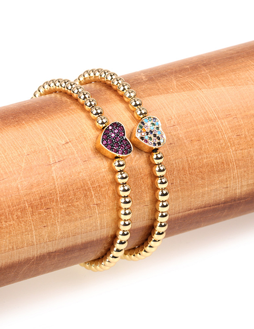 Fashion Blue Gold-plated Beaded Brass Bracelet With Micro Diamonds