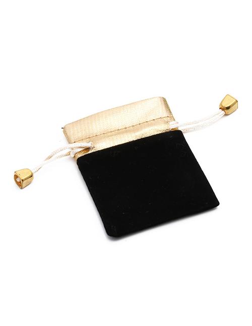 Fashion Black Hand Decorated Flannel Stitching Drawstring Jewelry Bag