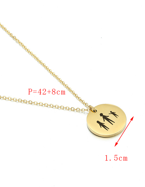 Fashion Golden Engraved Cat Titanium Steel Geometric Round Plate Gold-plated Necklace 15mm