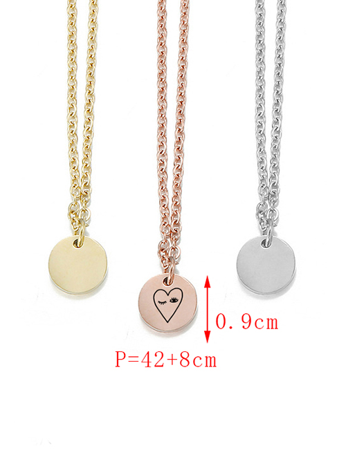 Fashion Rose Gold Stainless Steel Carved Eye Adjustable Necklace 9mm